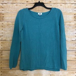Old Navy Blue-Green Sweater With Rolled Scoop Neck